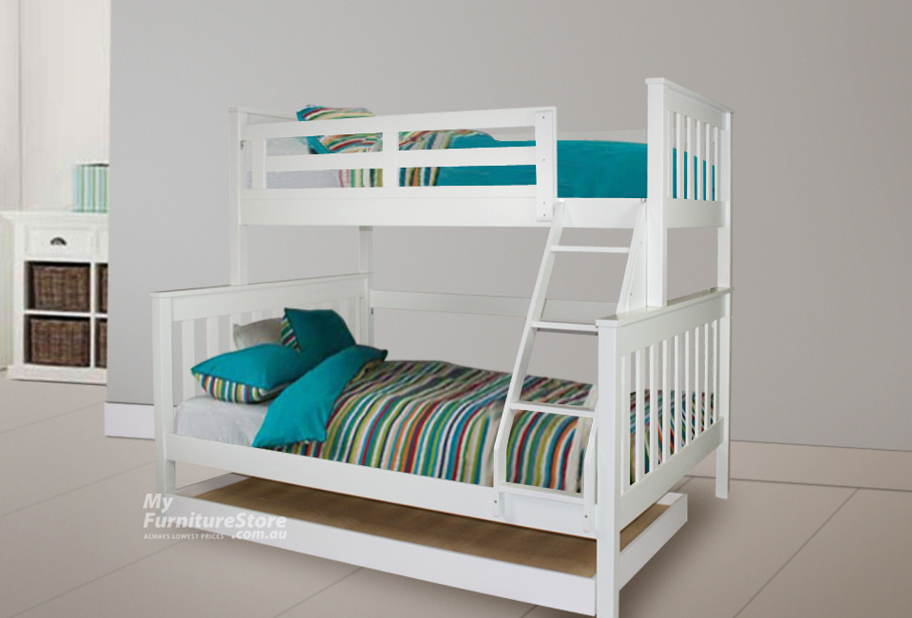 Picture of: Awesome Model 6 15 18 20 5 Trio Bunk Bed With Matching Single Budget Trundle Bed Arctic White My Furniture Store Furniture And Bedding Super Store Australia