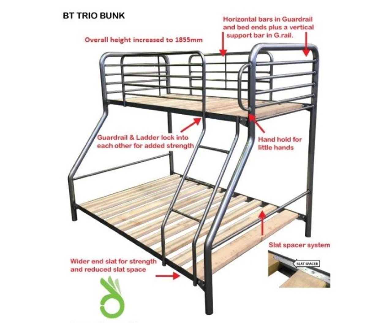 Picture of: Single Over Double Commercial Trio Safety Bunk Bed Australian Made Model Bt Trio Assorted Colours My Furniture Store Furniture And Bedding Super Store Australia