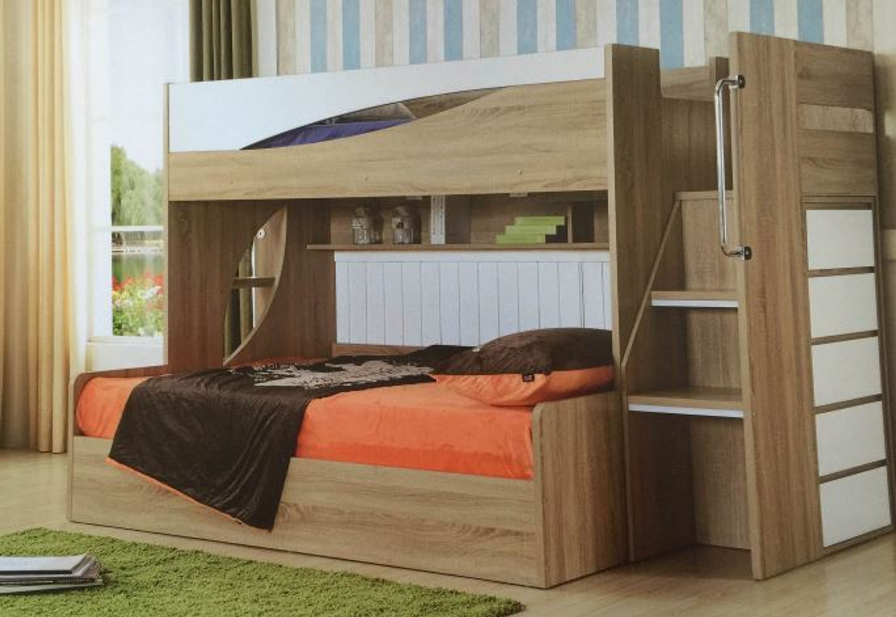 Picture of: Kenery Single Double Convertible Bunk With Side Cabinet Ladder With Shelf Ls 089 Oak White Combination My Furniture Store Furniture And Bedding Super Store Australia