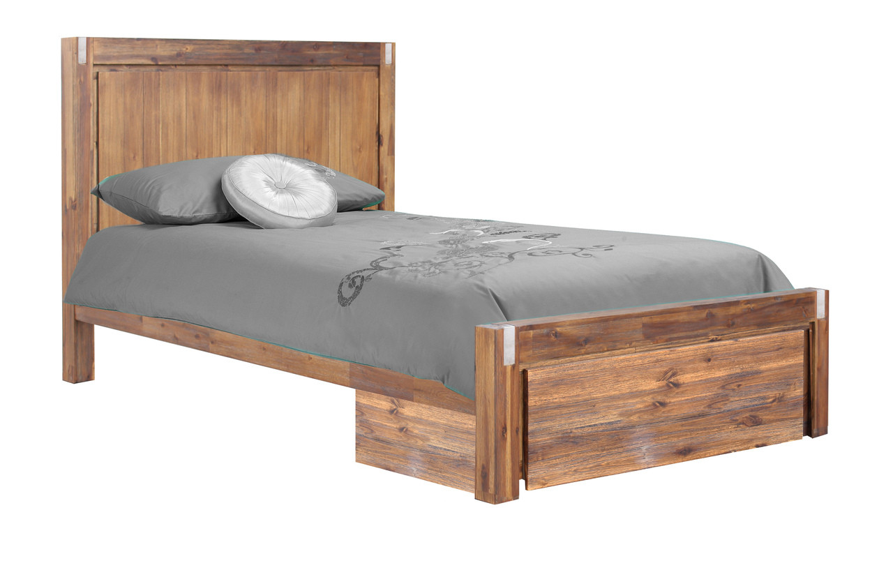 King Single Matrix Hardwood Bed Frame With Storage Drawer Desert