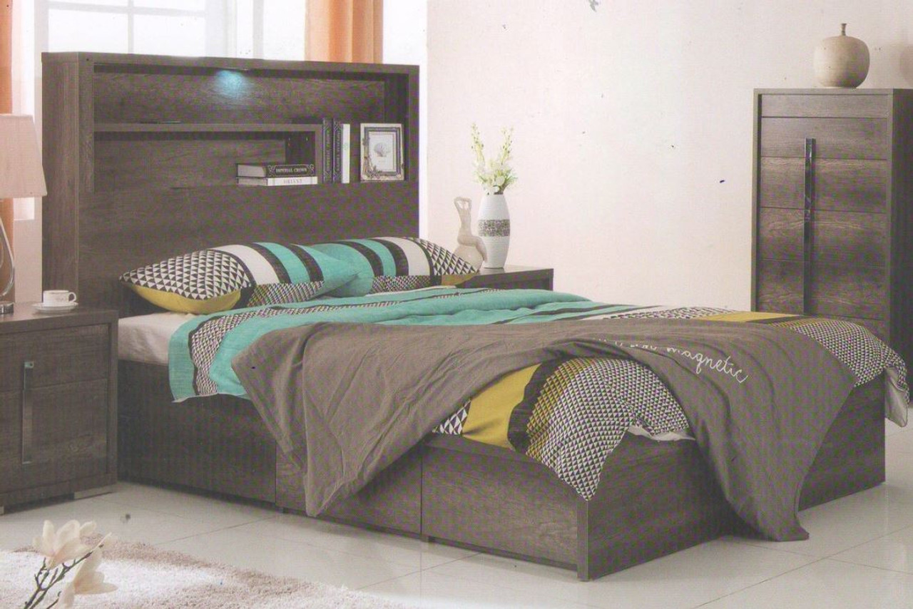 Queen Jesuit Storage Bed With Bookcase Bedhead Model 12 9 2 18 1 18 25 Charcoal Oak My Furniture Store Furniture And Bedding Super Store Australia