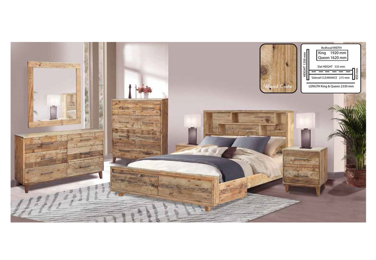 Queen Loftwood Bed With Bookcase Headboard 2 Drawers Wood Crate My Furniture Store Furniture And Bedding Super Store Australia