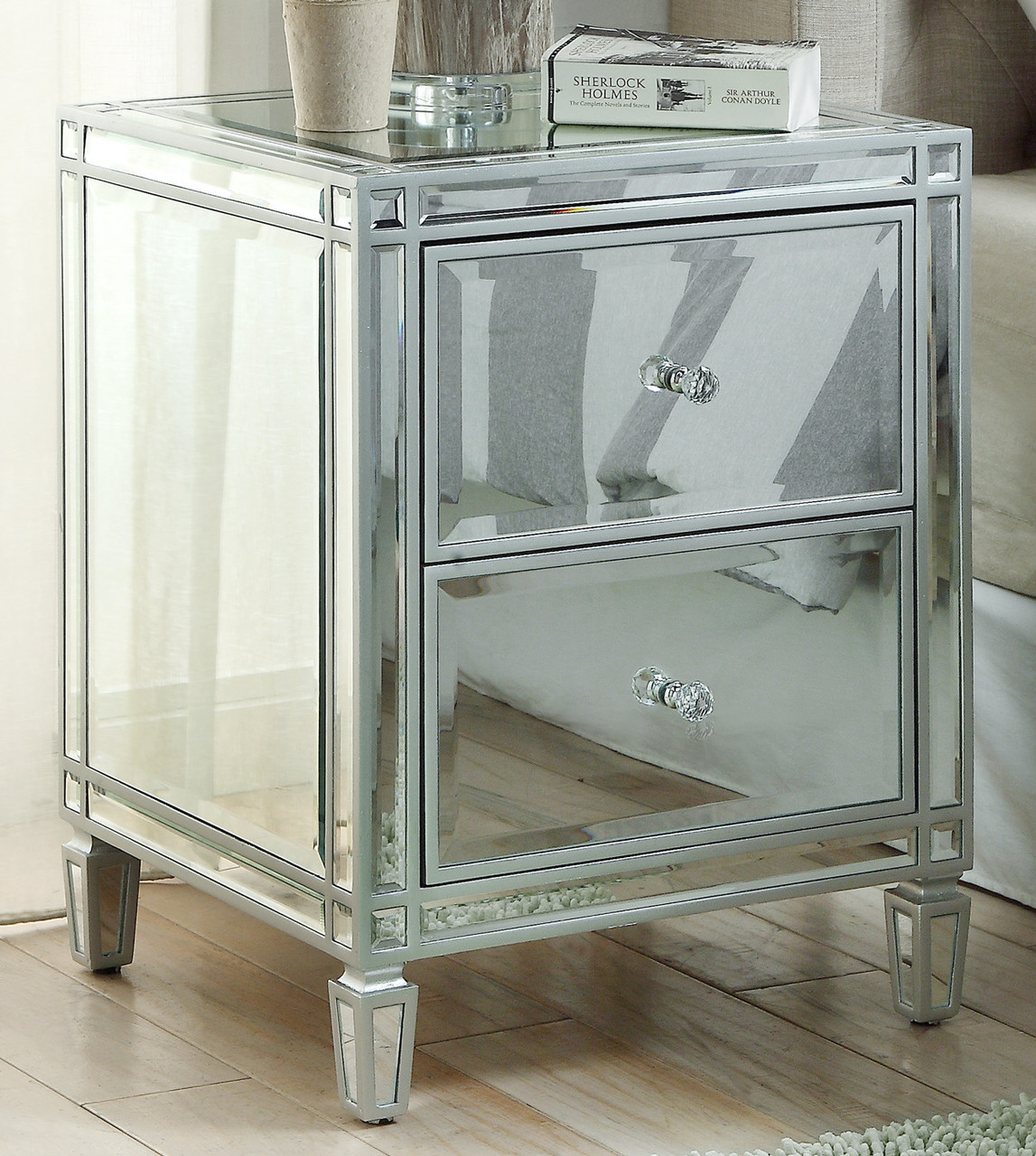 Ellavest 927 2 Drawer Mirrored Bedside Table Grey