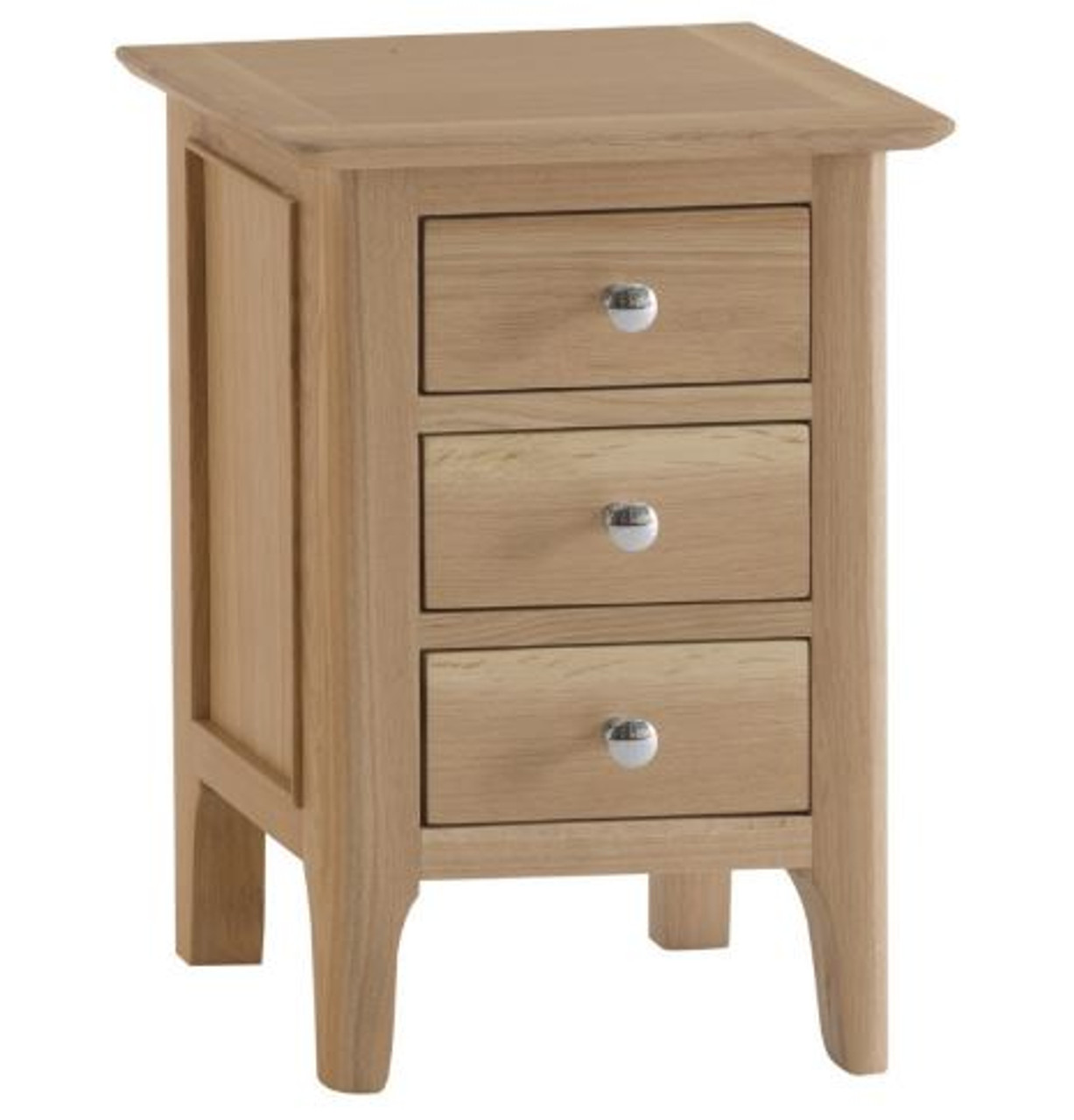 Picture of: Robinhood 3 Drawer Small Bedside Table Nt Sbsc Natural Oak Finish My Furniture Store Furniture And Bedding Super Store Australia