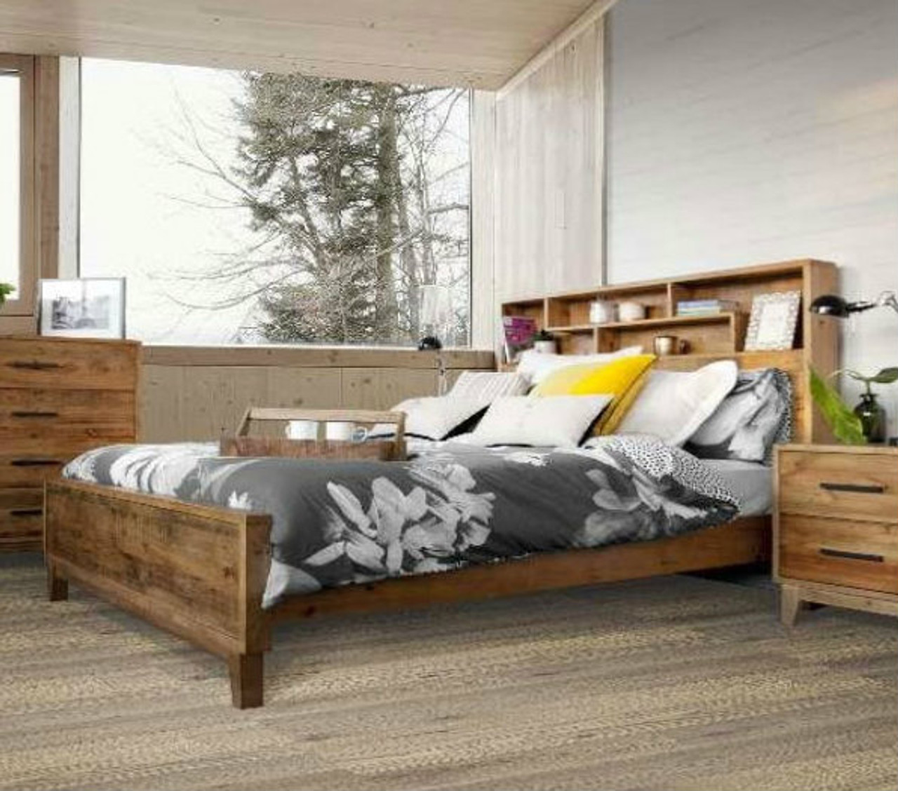King Antarctica Bed With Bookcase Storage Headboard Rustic My Furniture Store Furniture And Bedding Super Store Australia