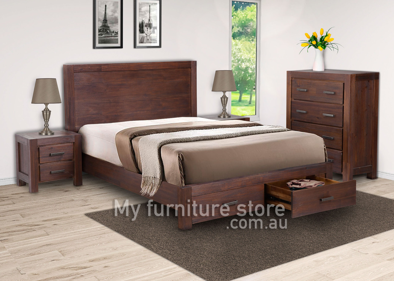 Colombo King 4 Piece Tallboy Bedroom Suite With Under Bed Storage Walnut My Furniture Store Furniture And Bedding Super Store Australia