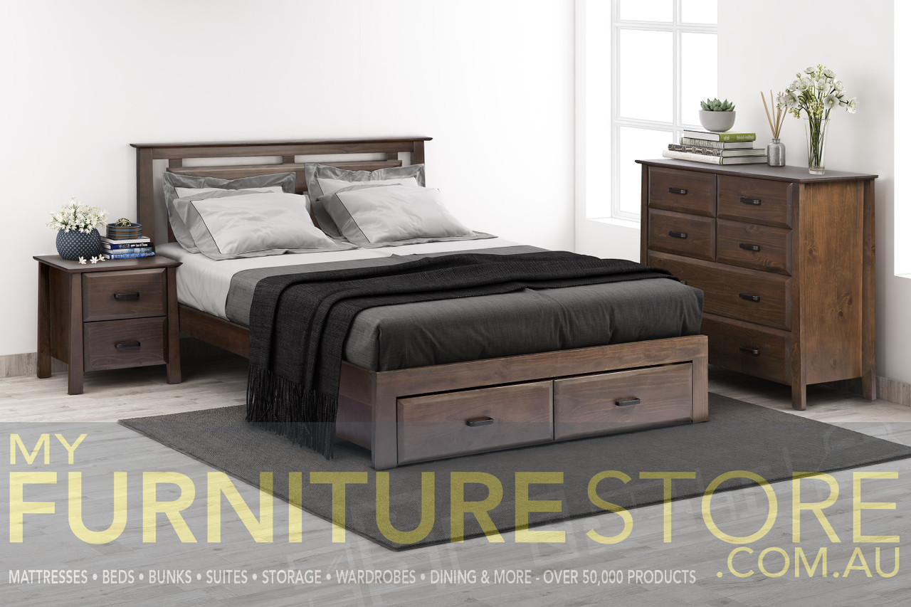 Picture of: Double Finley Bed With Under Bed Storage Or 76 2 Cuppacino My Furniture Store Furniture And Bedding Super Store Australia