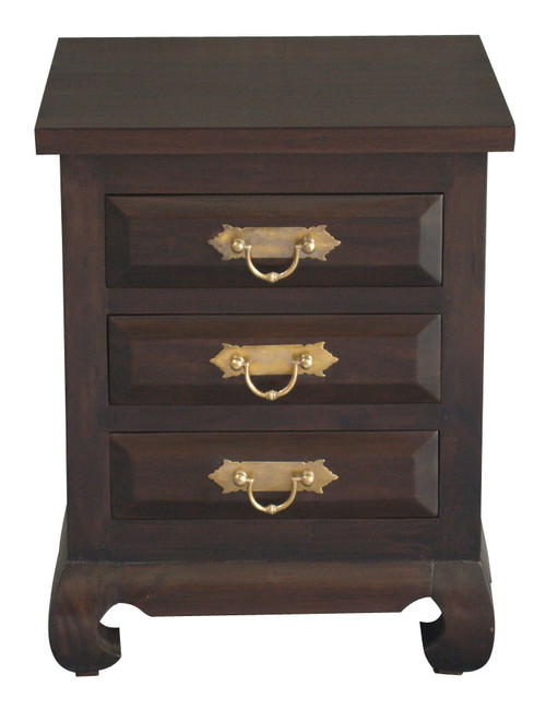 3 DRAWER SEOUL BEDSIDE WITH CHUNKY HANDLE (BS 003 OL RJ) - MAHOGANY OR CHOCOLATE