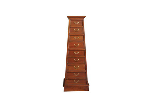 9 DRAWER PYRAMID CABINET- 1560(H) X 540(W) -MAHOGANY OR CHOCOLATE