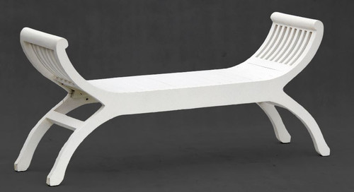 ORNAMENTAL 2 SEATER STOOL (CH 002 TW) -570(H) X 1300(W) - WHITE