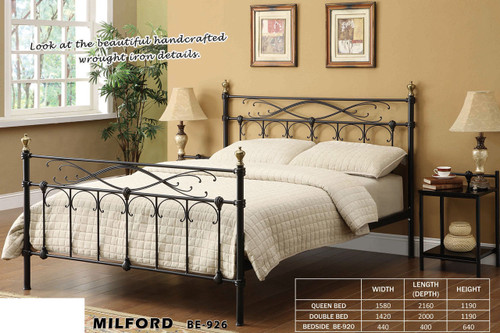 DOUBLE MILFORD BED - BLACK