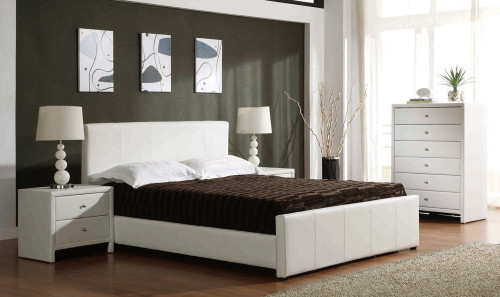 QUEEN VICTOR BED (BE-513) - LEATHERETTE BED WITH GAS LIFT UNDERBED STORAGE - WHITE OR SHINNY BLACK