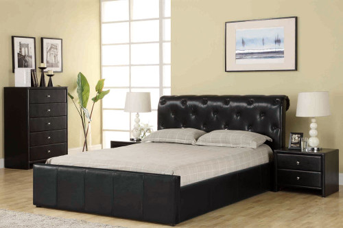 KING CHESTER BED (BE-517) - LEATHERETTE - BLACK