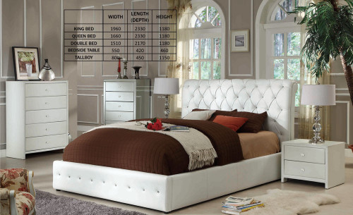 DIAMENTI DOUBLE OR QUEEN LEATHERETTE 4 PIECE TALLBOY BEDROOM SUITE (BE-519) - BLACK OR IVORY
