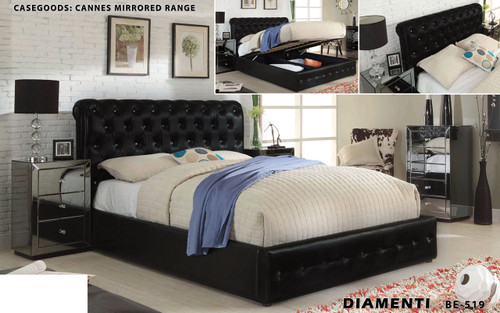 DIAMENTI (BE-519) KING 3 PIECE BEDSIDE BEDROOM SUITE WITH CANNES (BE-829) MIRRORED BEDSIDE AND GAS LIFT UNDERBD STORAGE - LEATHERETTE - BLACK OR IVORY