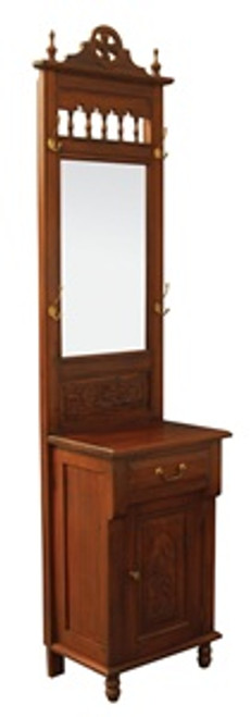 1 DOOR 1 DRAWER CARVED HALL STAND -2100(H) X 560(W) X 360(D)  -  MAHOGANY OR CHOCOLATE
