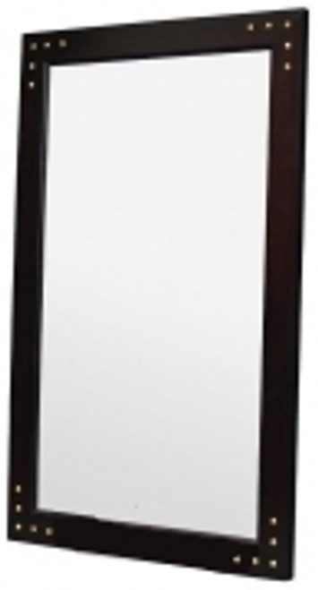 WOODEN FRAME MIRROR WITH STUD 1600x1000mm - MAHOGANY OR CHOCOLATE
