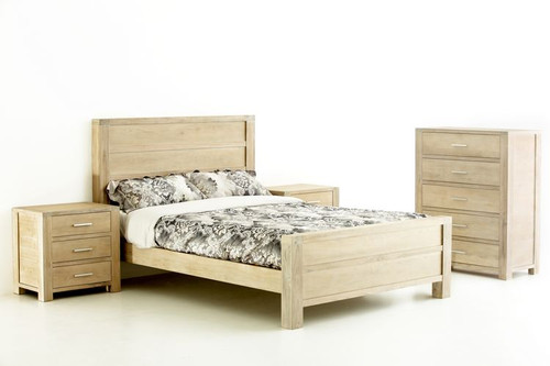 TRIBECA (346) QUEEN 3 PIECE BEDSIDE BEDROOM SUITE - WHITEWASH