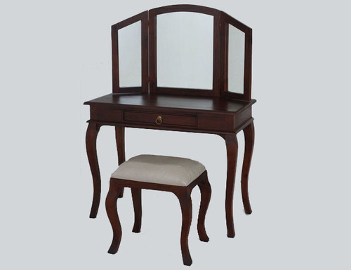 QUEEN ANNA 1 DRAWER LARGE DRESSING TABLE & STOOL - 1370(H) X 1000(W) - MAHOGANY OR CHOCOLATE