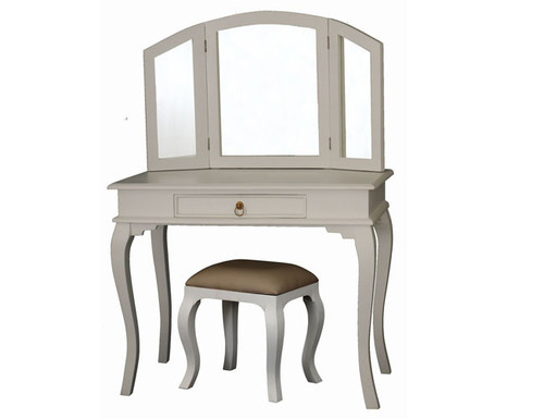 QUEEN ANN 1 DRAWER LARGE DRESSING TABLE & STOOL -1370(H) X 1000(W) -  WHITE