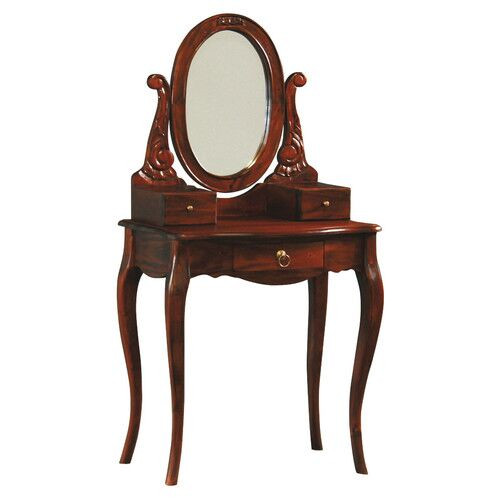 QUEEN ANNA 3 DRAWER SMALL DRESSING TABLE - 1370(H) X 700(W) -MAHOGANY OR CHOCOLATE