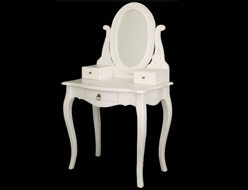 QUEEN ANNA 3 DRAWER SMALL DRESSING TABLE WITH MIRROR -  1370(H) X 700(W)- WHITE