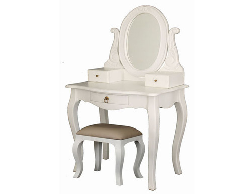 QUEEN ANNA 3 DRAWER SMALL DRESSING TABLE WITH MIRROR & STOOL -  1370(H) x 700(W)  -WHITE
