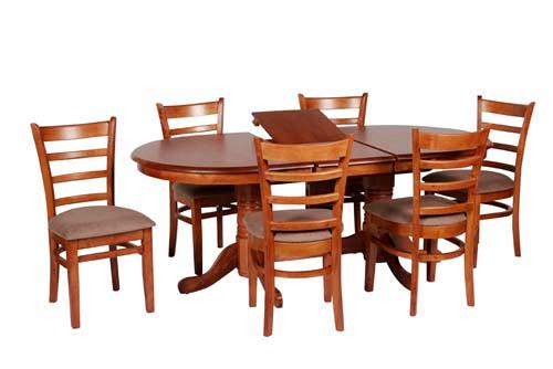 JAGUAR 7 PIECE EXTENSION DINING SETTING (JAG PD 15 19 7PA) WITH 165MM PEDESTAL BASES - 1500/1900(L) x 990(W) - ANTIQUE OAK / MOCHA SEAT