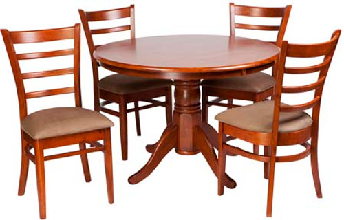 JAGUAR 5 PIECE ROUND FIXED TOP DINING SETTING (JAGPD1010-5PA) - 1060(D) - ANTIQUE OAK / MOCHA SEAT