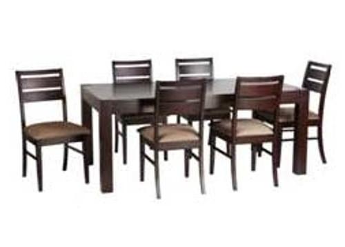 RIANN 7 PIECE 4 LEG BASE DINING SETTING (RIA 4D 18 99 7P) - 1840(L) x 990(W) - CHOCOLATE FRAME AND MOCHA SEATS