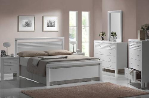 DALLAS / FION DOUBLE OR QUEEN 4 PIECE TALLBOY BEDROOM SUITE - WHITE