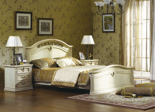CASINO (BE-313) QUEEN 3 PIECE BEDSIDE  BEDROOM SUITE - LIME WASH WHITE
