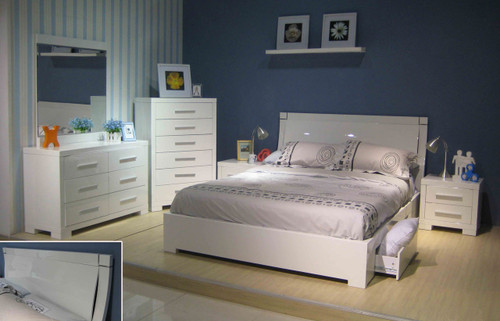 PRIMA QUEEN 6 PIECE BEDROOM SUITE WITH UNDERBED STORAGE DRAWERS  (BE-963) - HIGH GLOSS WHITE