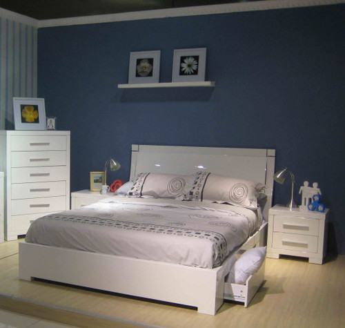 PRIMA QUEEN 4 PIECE TALLBOY BEDROOM SUITE WITH UNDERBED STORAGE DRAWERS  (BE-963) - HIGH GLOSS WHITE