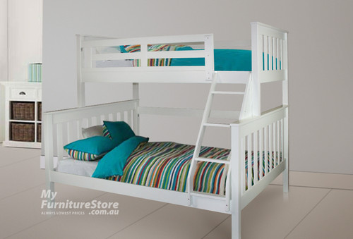 AWESOME SINGLE OVER DOUBLE (MODEL 6-15-18-20-5) TRIO BUNK BED - ARCTIC WHITE