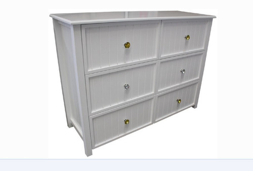 GEORGE DRESSER LOWBOY WITH 6 DRAWERS AND STANDARD WOODEN KNOBS (NOT AS PICTURED) -950(H) X 1300(W)- ASSORTED COLOURS (VIC ASH AND PINE OPTIONS ALSO AVAILABLE - PRICE ON APPLICATION) - CUSTOMISATION AVAILABLE