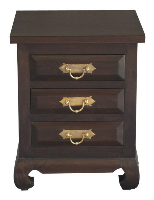 SHANGHAI 3 DRAWER RING / CHUNKY BEDSIDE - RING HANDLE (BS 003 OL RJ) - MAHOGANY OR CHOCOLATE