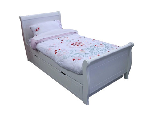 SINGLE MODERN SLEIGH BED WITH 2 UNDERBED STORAGE BOXES - PRICED IN ASSORTED COLOURS (VIC ASH AND PINE OPTIONS ALSO AVAILABLE - PRICE ON APPLICATION) - CUSTOMISATION AVAILABLE