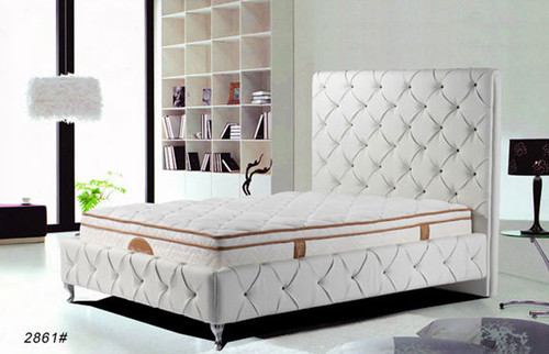 QUEEN (2861#) MONTY LEATHERETTE BED - ASSORTED COLOURS