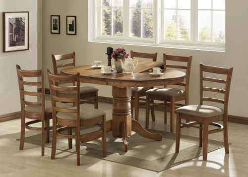 LANNICE 5 PIECE EXTENSION DINING SETTING (NOT AS PICTURED) - 1060/1500(L) - (MODEL 13-21-19-20-1-14-7) - ANTIQUE OAK