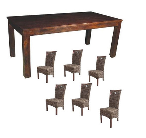 BRONTE (WONMR-001) 7 PIECE DINING SETTING WITH FLORENCE CHAIRS - 1800(L) X 900(W) - (VACH-01-WH - DARK / VACH-01-WH-LH - LIGHT LEGS)