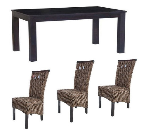 BRONTE (WONMR-011) 7 PIECE DINING SETTING WITH FLORENCE CHAIRS - 1500(L) X 900(W) - (VACH-01-WH - DARK / VACH-01-WH-LH - LIGHT LEGS)