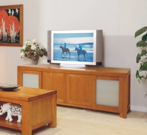 SUNNY LOWLINE TV UNIT WITH 4 SLIDING DOORS, SAFETY GLASS AND 4 DRAWERS BEHIND DOORS - 700(H) X 2000(W) - CHOICE OF COLOURS