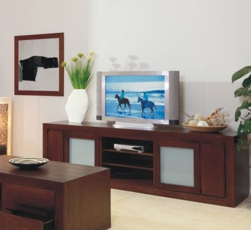 BRESSINGTON LOWLINE TV UNIT WITH 2 DOORS AND 2 DVD PULLOUTS  -700(H) X 2340(W) - CHOICE OF COLOURS