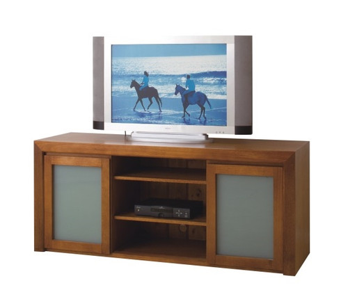 CARRIE (SQ1650) 2 DOOR LOWLINE TV UNIT WITH TRANSLUCENT SAFETY GLASS - 700(H) x 1650(W) - TASSIE OAK - ASSORTED COLOURS AVAILABLE