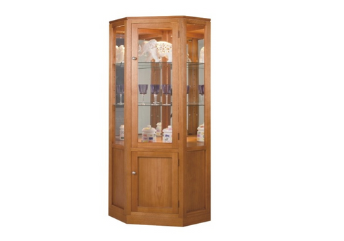 CATARINE CORNER DISPLAY UNIT WITH 2 DOORS, 2 GLASS SHELVES, MIRROR BACK AND DOWNLIGHT - 650(W) - ASSORTED COLOURS