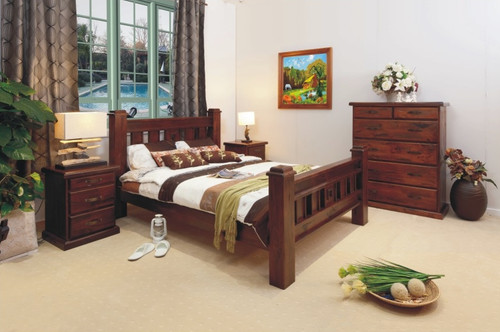 RUSTIC KING 4 PIECE TALLBOY BEDROOM SUITE