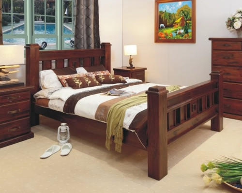 KING SINGLE RUSTIC BED - RUSTIC