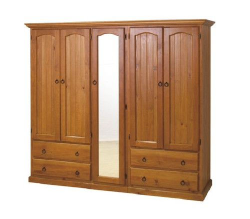 SIMEONE (AUSSIE MADE) 3 PIECE WARDROBE WITH 5 DOORS , 4 DRAWERS AND 4 SHELVES BEHIND MIRROR - 1800(H) x 2000(W) - ASSORTED COLOURS