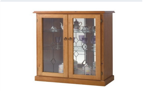 (MCDC-002) CHINA DISPLAY UNIT WITH MIRROR BACKING AND 2 GLASS SHELVES - LOCAL MAKE